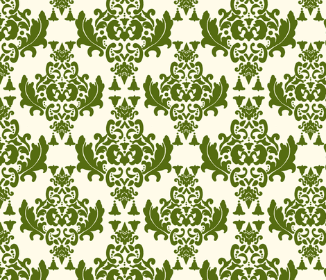 Olive Green on Cream Damask fabric by mayabella on Spoonflower - custom fabric
