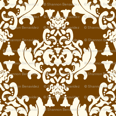 Brown on Cream Damask