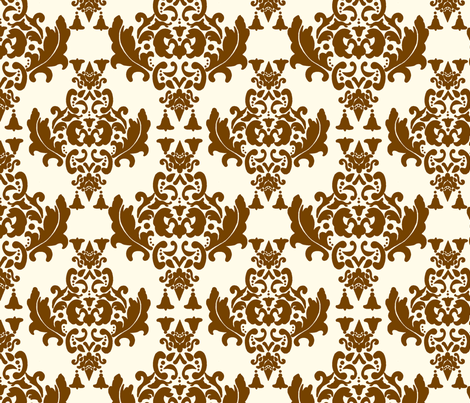 Brown on Cream Damask fabric by mayabella on Spoonflower - custom fabric