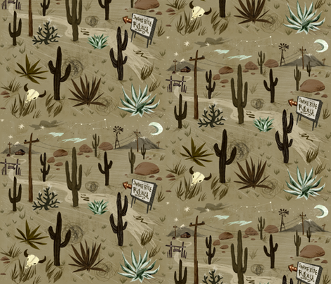 DesertRoad to SnakeBite Ranch fabric by chesirella on Spoonflower - custom fabric