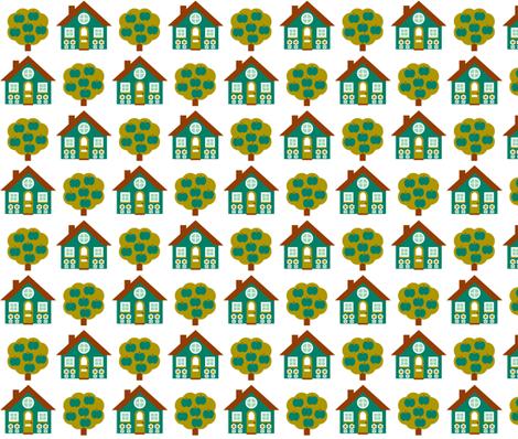 House_Rpt-Teal fabric by aliceapple on Spoonflower - custom fabric