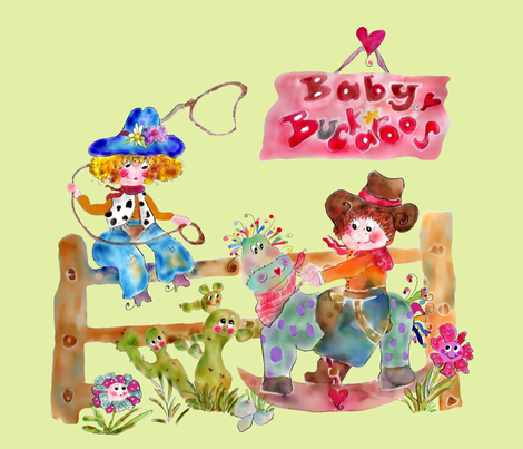 Baby Buckaroos Riding the Range fabric by rosannahope on Spoonflower - custom fabric