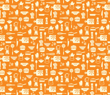 kitchen culture orange fabric by amel24 on Spoonflower - custom fabric