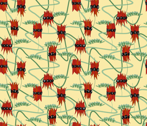 Ramblin' Desert Pea fabric by inscribed_here on Spoonflower - custom fabric