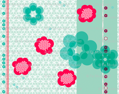 shibori large floral with stripe j