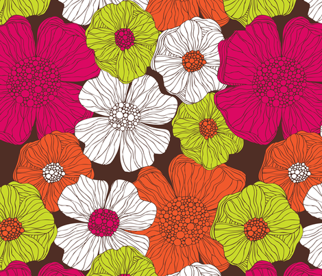 Flower in Brown fabric by valentinaharper on Spoonflower - custom fabric