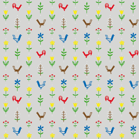 Flowers & Hens fabric by annosch on Spoonflower - custom fabric