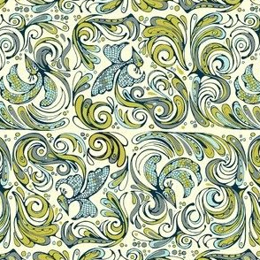 swirly birds olive