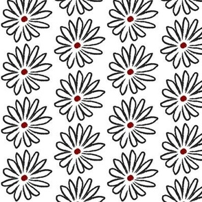 All Red Centered Hand Drawn Daisies Small © ButterBoo Designs 2010