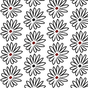 Black, White and Red Hand Drawn Daisies Small © ButterBoo Designs 2010