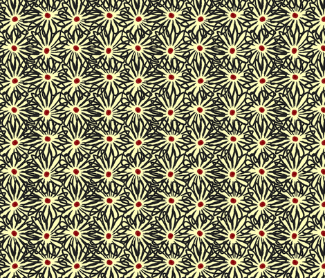 Red Centered Daisies © ButterBoo Designs 2010 fabric by butterboo_designs on Spoonflower - custom fabric