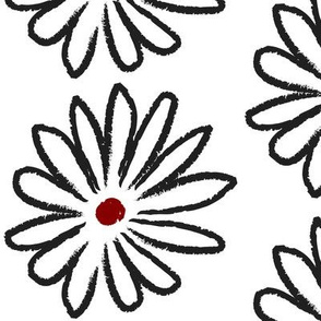 All Red Centered Hand Drawn Daisies Large © ButterBoo Designs 2010