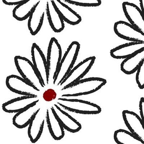 Black, White and Red Hand Drawn Daisies Large © ButterBoo Designs 2010