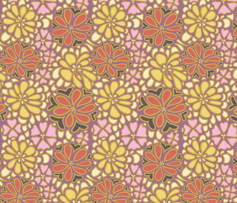 Bursting blossoms in plum fabric by mytinystar on Spoonflower - custom fabric