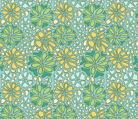bursting blossoms in blue fabric by mytinystar on Spoonflower - custom fabric