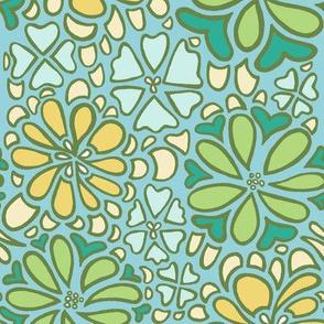 bursting blossoms in blue