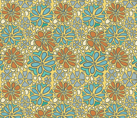 bursting blossoms in gold fabric by mytinystar on Spoonflower - custom fabric