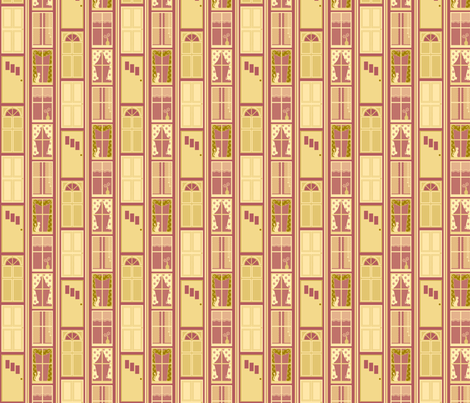 Doors, Windows, Cats and Stripes fabric by siya on Spoonflower - custom fabric