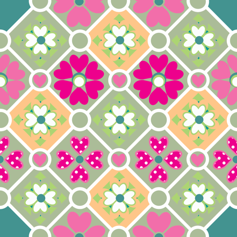 Diamonds and Flowers fabric by delsie on Spoonflower - custom fabric