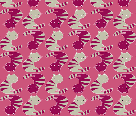 Kitty in Pink fabric by malien00 on Spoonflower - custom fabric