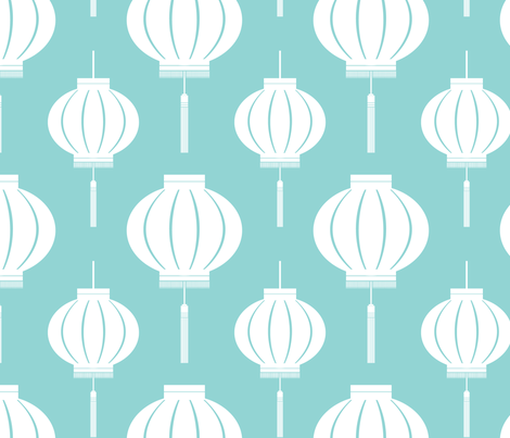 Lantern Reverse (Koi Pond) fabric by blackpomegranate on Spoonflower - custom fabric