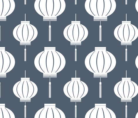 Lantern Reverse (Poppyseed) fabric by blackpomegranate on Spoonflower - custom fabric