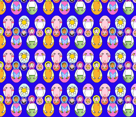 matriochka bleu fabric by elfyne on Spoonflower - custom fabric