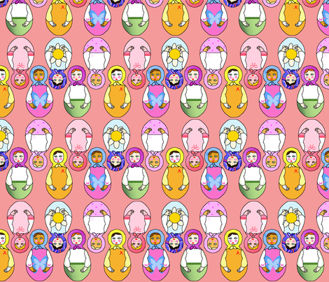 matriochka rose fabric by elfyne on Spoonflower - custom fabric