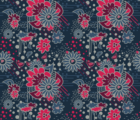 Floral Pow at Midnight fabric by dolphinandcondor on Spoonflower - custom fabric