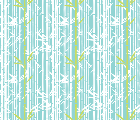 Lush Bamboo Reverse (Koi Pond/Midori) fabric by blackpomegranate on Spoonflower - custom fabric