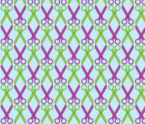 Purple/Green Scissors fabric by audreyclayton on Spoonflower - custom fabric