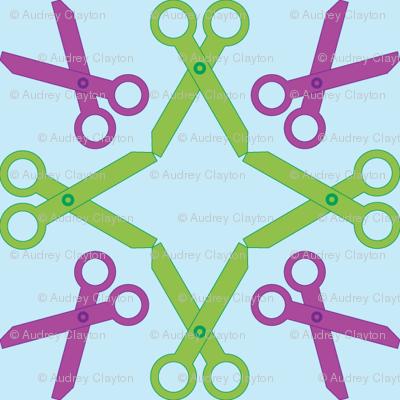 Rotating Purple/Green Scissors