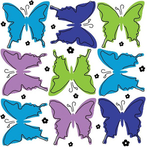 Flight Pattern Butterflies in the Turquoise Colorway by Ellen Medlock Studio