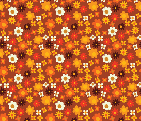 orange_flowers fabric by dennisthebadger on Spoonflower - custom fabric
