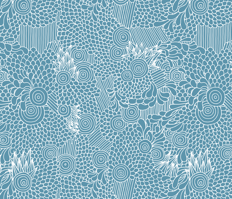 Spikes and Circles - Blue fabric by rikkib on Spoonflower - custom fabric