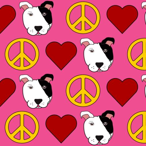 Pink Peace, Love, Pit Bulls  fabric by missyq on Spoonflower - custom fabric