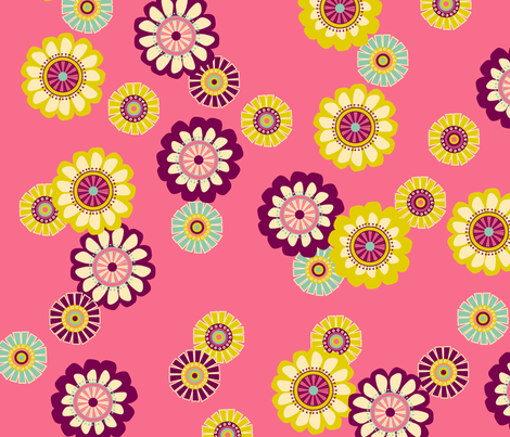Mod Flowers Pink fabric by paper_pie on Spoonflower - custom fabric