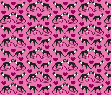 Kissing Bostons fabric by missyq on Spoonflower - custom fabric