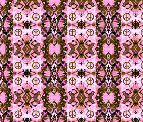 Pink camo World Peace fabric by paragonstudios on Spoonflower - custom fabric