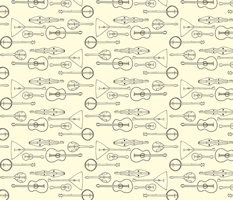strummin_along_white fabric by victorialasher on Spoonflower - custom fabric