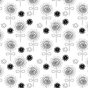 Flower Swirl Black