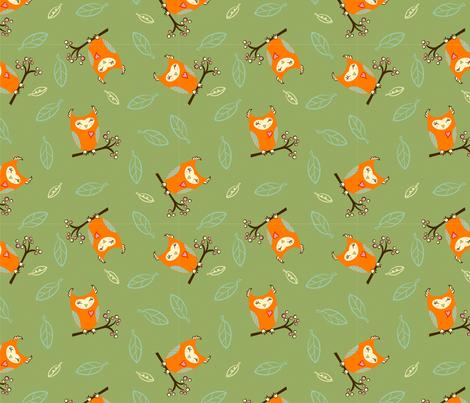 OrngOwls_Grn fabric by air_&_loom on Spoonflower - custom fabric