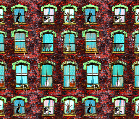 Windows with Mostly Cats fabric by roazbear on Spoonflower - custom fabric