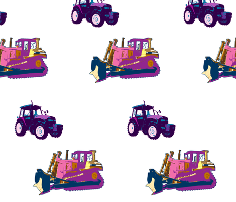 uni_tractors_white fabric by snork on Spoonflower - custom fabric