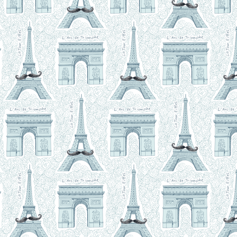 Monsieur Eiffel et Ami fabric by pattysloniger on Spoonflower - custom fabric