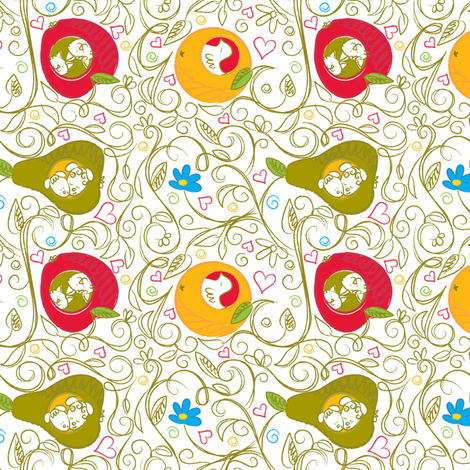 Surrealist: Fruity Abode - © Lucinda Wei fabric by lucindawei on Spoonflower - custom fabric