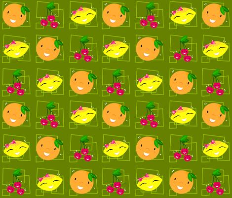 Skulluxe fruit party - green fabric by skulluxe on Spoonflower - custom fabric