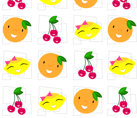 Skulluxe fruit party - white fabric by skulluxe on Spoonflower - custom fabric