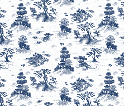 Blue Willow Toile fabric by juliamonroe on Spoonflower - custom fabric