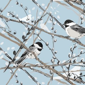 Chickadees and Pussywillows (blue)